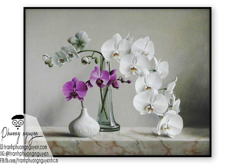 Tranh sơn dầu hoa lan - PN1389