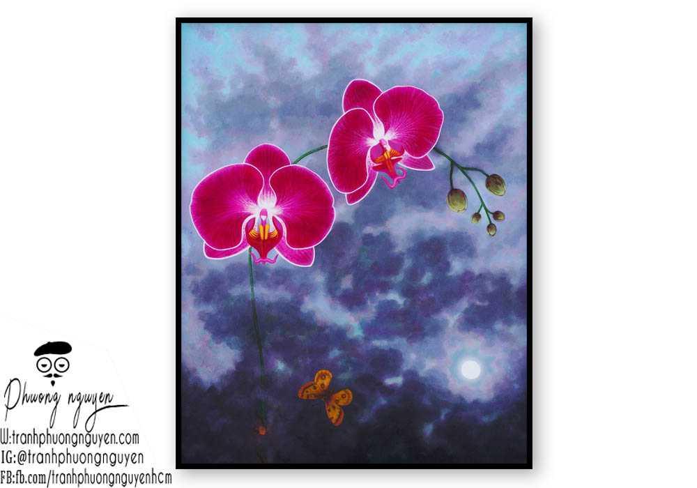 Tranh sơn dầu hoa lan - PN1392