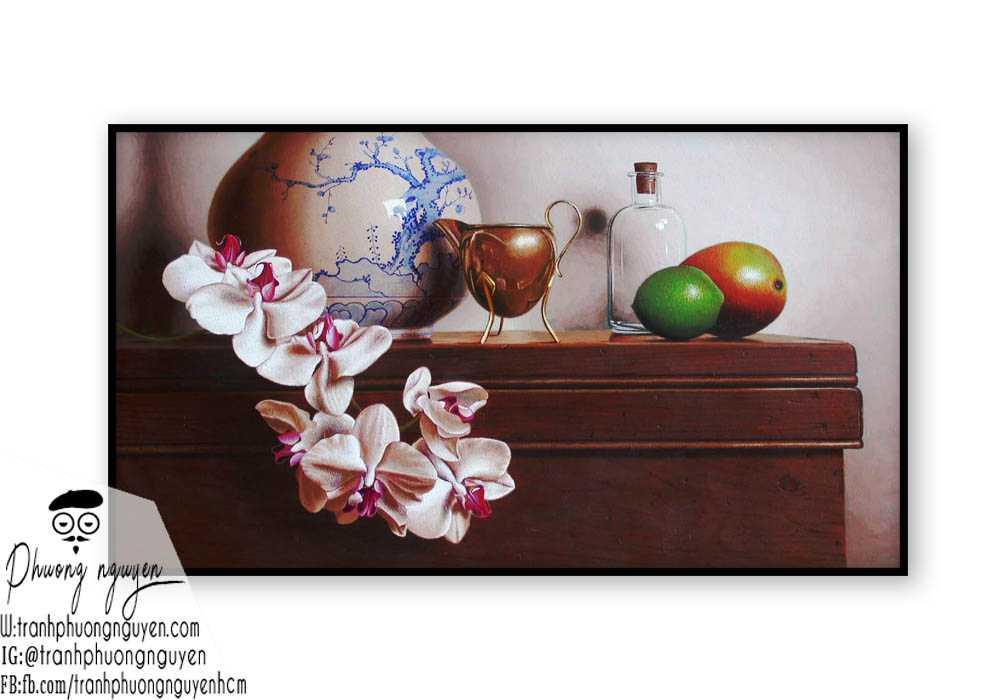 Tranh sơn dầu hoa lan - PN1394