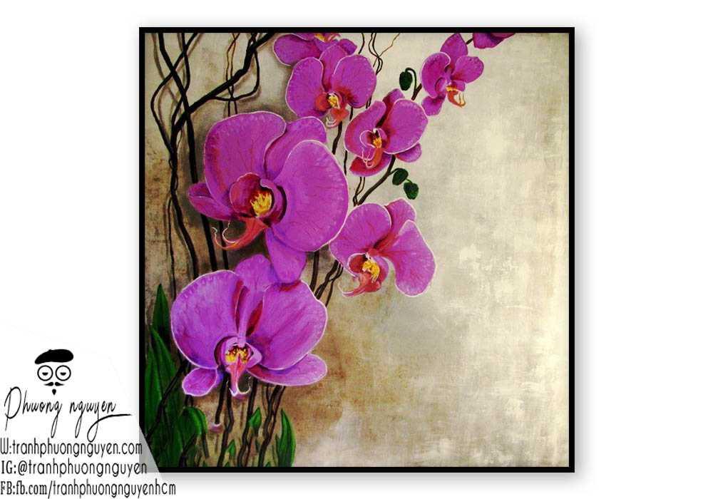 Tranh sơn dầu hoa lan - PN1395