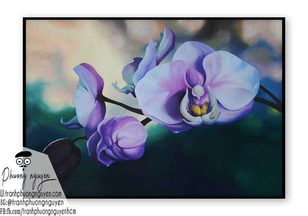 Tranh sơn dầu hoa lan - PN1398