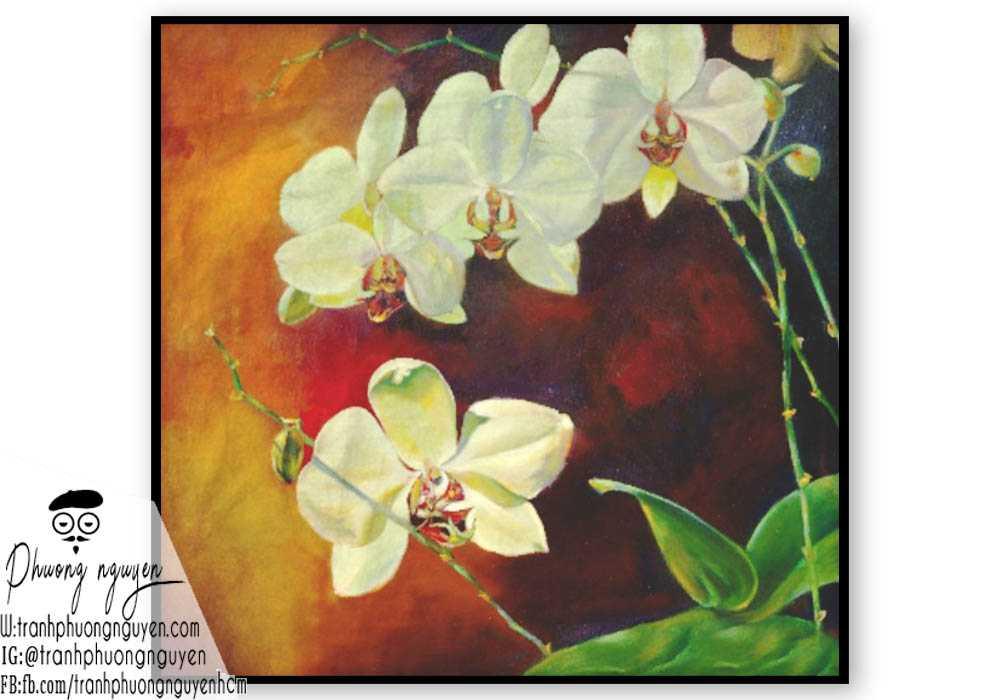 Tranh sơn dầu hoa lan - PN1401