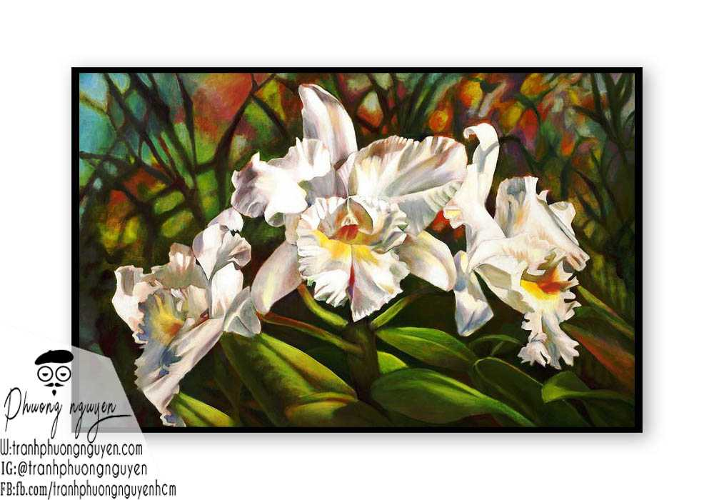 Tranh sơn dầu hoa lan - PN1405