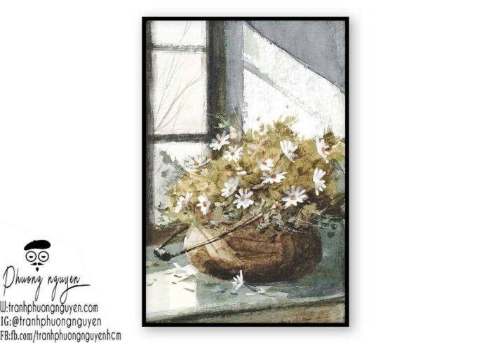 Tranh sơn dầu hoa cúc  - PN1442