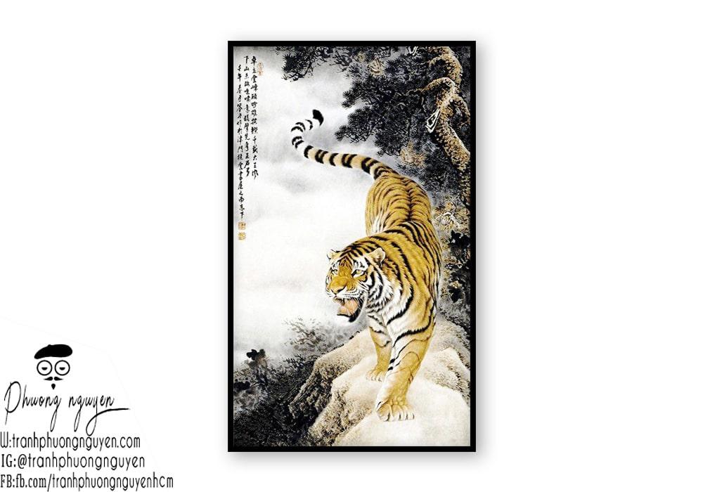 Tranh thủy mặc hổ đẹp - Mẫu 2