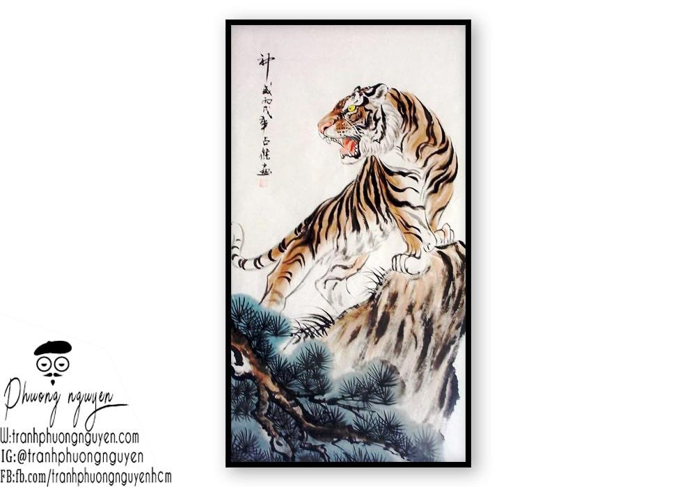 Tranh thủy mặc hổ đẹp - Mẫu 1