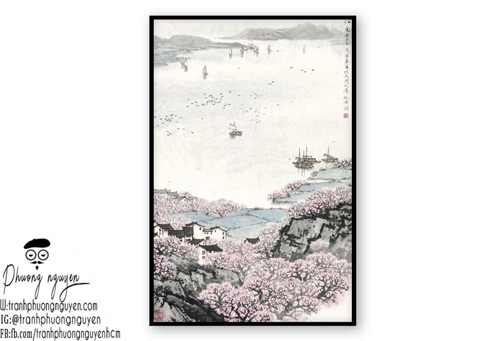 Tranh thủy mặc hoa ảnh đào đẹp - Mẫu 3