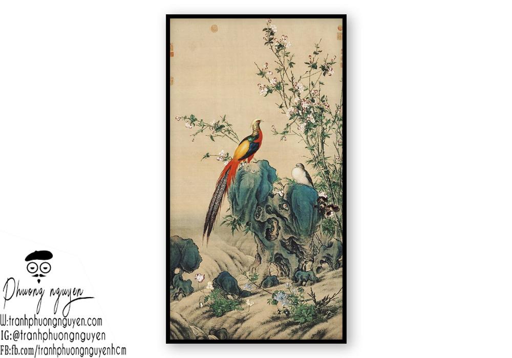 Tranh thủy mặc chim công - mẫu 1
